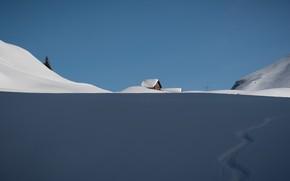Картинка свет, снег, дом, тень