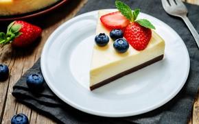 Обои ягоды, чизкейк, кусочек торта, десерт