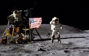 Обои астронавт, флаг, луна
