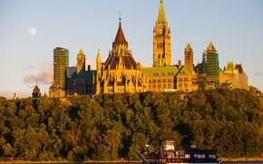 Картинка пейзаж, река, корабль, Парламент, Канада, Оттава