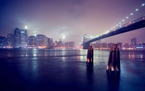 Картинка мост, город, огни, вечер