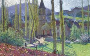 Картинка пейзаж, картина, Анри-Жан Гильом Мартин, Henri Matrin, Going Out from the Mess at Labastide-du-Vert