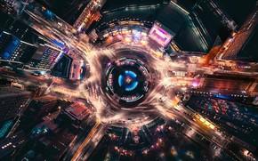 Обои США, Нью Йорк, ночь, улица, огни, выдержка, город, движение, улицы