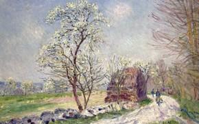 Картинка дорога, картина, весна, Alfred Sisley, Альфред Сислей, Пейзаж с Цветущими Деревьями
