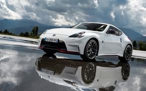 Обои Отражение, Дорога, Nissan, Sport Car, Nismo, 370Z, Диски, Вода, Машина