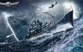 Картинка бой, сражение, Navy Field, Light cruiser Atlanta