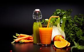 Картинка зелень, сок, напиток, овощи, цитрусы