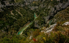 Картинка деревья, горы, река, камни, скалы, Франция, Альпы, каньон, пропасть, вид сверху, Soleils