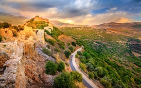 Картинка камни, долина, крепость, развалины, кусты, дорога, Израиль, Golan Heights, горы, Nimrod Fortress National Park, Нимрод