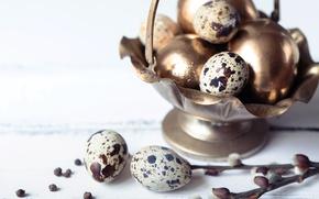Картинка ветки, весна, Пасха, golden, happy, верба, spring, Easter, eggs, decoration, перепелиные яйца, яйца крашеные