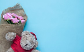 Картинка игрушка, розы, мишка, love, bear, pink, romantic, teddy, roses