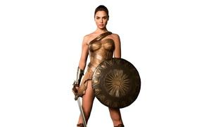 Картинка меч, фэнтези, белый фон, красотка, щит, Wonder Woman, амазонка, Галь Гадот, Gal Gadot, Чудо-женщина