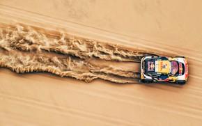 Обои Песок, Авто, Спорт, Машина, Скорость, Гонка, Сверху, Peugeot, Фары, Red Bull, Вид сверху, 300, Rally, ...