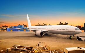 Картинка небо, асфальт, закат, огни, самолет, река, вечер, порт, пассажирский, контейнера
