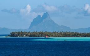 Картинка море, горы, тропики, пальмы, Бора-Бора, Bora-Bora, French Polynesia, Hipu, Leeward Islands