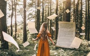 Картинка лес, девушка, книга, страницы, Adam Bird