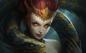 Картинка взгляд, девушка, змея, арт