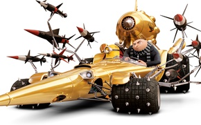 Обои шипы, Despicable Me 3, ракеты, Гадкий я 3, Gru, белый фон, миньон, мультфильм, анимация, Dru, ...
