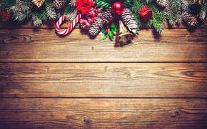Картинка украшения, ветки, доски, Новый Год, Рождество, christmas, balls, шишки, wood, merry christmas, decoration, xmas, fir …