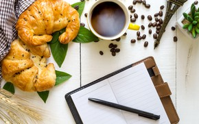 Картинка кофе, зерна, завтрак, чашка, cup, beans, coffee, круассаны, croissant, breakfast
