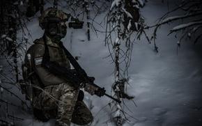 Обои зима, экипировка, солдат
