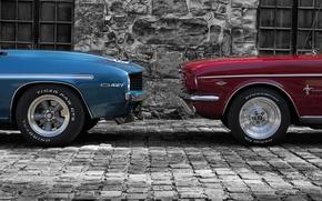 Картинка две, Ford, mustang, Chevrolet, Camaro, морды