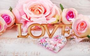 Обои розы, сердечки, love, heart, pink, flowers, romantic, petals, roses, розовые розы, pastel