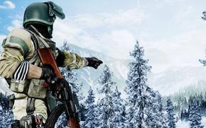 Картинка gun, game, forest, soldier, blizzard, weapon, Battlefield, snow, rifle, uniform, seifuku, Battlefield 4, AK 47, ...