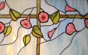 Картинка блики, фон, текстура, витраж, вьюнки, цветочный орнамент, витражная пленка