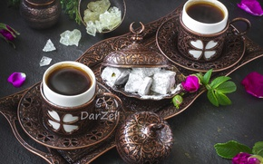 Обои бронза, посуда, кофе, шиповник, рахат-лукум