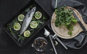 Картинка Зелень, Лимон, Рыба