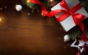 Картинка звезды, праздник, подарок, игрушки, новый год, ель, бант, шишки