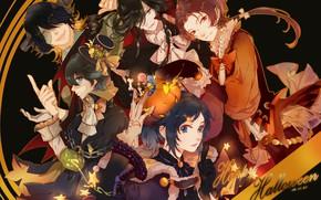 Картинка Touken Ranbu, Kashuu Kiyomitsu, Horikawa Kunihiro, Yamato no Kami Yasusada, Orange Bow, Nagasone Kotetsu, Buzhi …