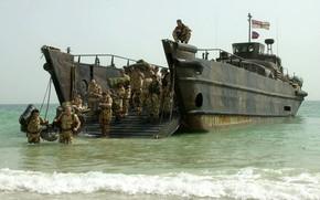 Картинка soldier, sea, landing, Royal Marines, surface sea vehicle
