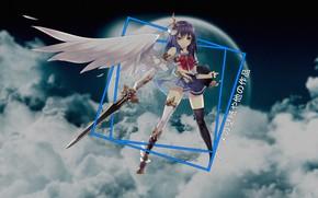 Картинка небо, облака, ангел, аниме, anime, madskillz