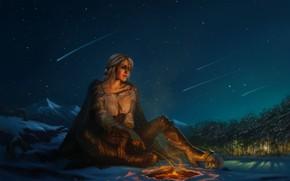 Картинка горы, снег, звездопад, ведьмак, деревья, Cirilla Fiona Elen Riannon, костер, девушка, ночь, череп, ciri, небо, …