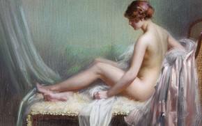 Картинка пастель, Delphin Enjolras, дамы у ночных светильников, Обнаженная женщина, лежащая на канапе