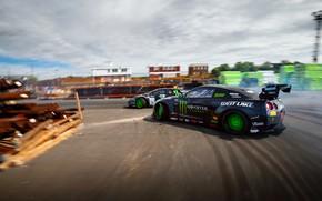 Обои Lamborghini, занос, Nissan, Drift, Monster Energy, Speedhunters, Larry Chen, Battle drift