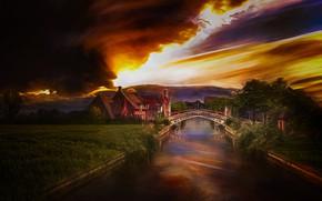 Картинка тучи, мост, дом, канал, Нидерланды