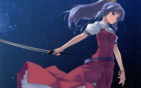 Картинка катана, длинные волосы, touhou, art, звездное небо, Touhou Project, Проект Восток, Watatsuki no Yorihime, Rokuwata ...