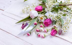 Картинка цветы, букет, весна, colorful, лента, бутоны, wood, pink, flowers, spring
