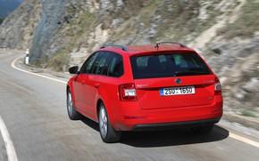 Картинка дорога, красный, движение, сзади, Škoda, универсал, 2013, Skoda, Octavia Combi