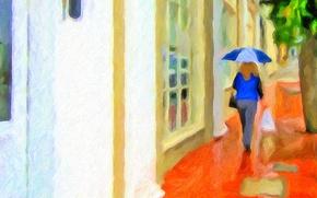 Картинка девушка, город, рендеринг, фото, улица, дома, зонт