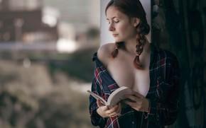 Картинка декольте, книга, косички, J.A. Roman, Anael