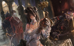 Картинка девушка, улыбка, крылья, аниме, арт, очки, рога, мужчина, albedo, overlord, song ren, ainz ooal gown, …