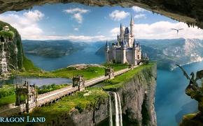 Картинка море, горы, озеро, замок, скалы, водопад, драконы, dragon land