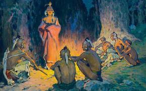 Картинка огонь, костёр, племя, Eanger Irving Couse, (circa 1926), The Speaker