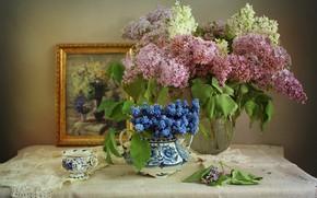 Обои салфетки, ветки, мускари, сирень, чашка, картина, ваза, цветы
