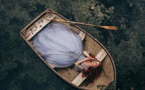 Картинка девушка, в лодке, Adam Bird