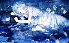 Картинка ночь, спит, девочка